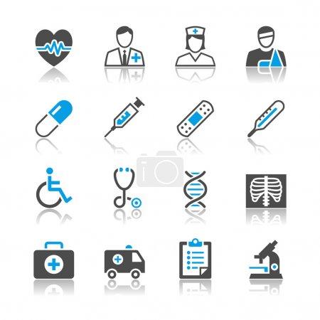 Healthcare icons reflection theme