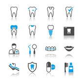 Zubní ikony odraz téma