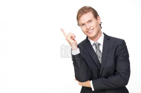 Young Handsome Business Man Pointing Finger Up