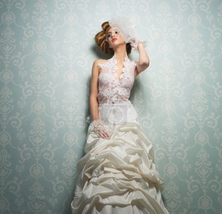 Beautiful Bride Against the Wall