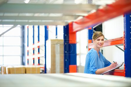 Businesswoman controlling inventory in a warehouse