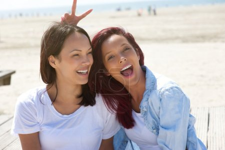 Cheerful sisters having fun at the beach