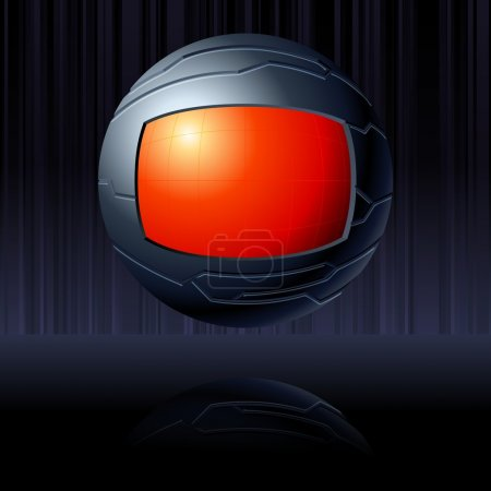 Illustration for Science fiction floating globe in black and red. Graphics are grouped and in several layers for easy editing. The file can be scaled to any size. - Royalty Free Image