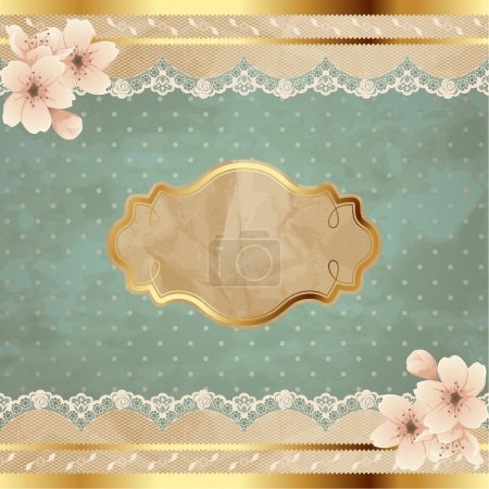 Photo for Romantic floral vintage illustration with lacy decorative elements. Graphics are grouped and in several layers for easy editing. The file can be scaled to any size. - Royalty Free Image