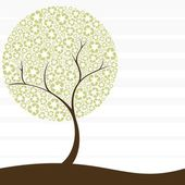 Conceptual illustration of a tree with recycling symbol leaves Graphics are grouped and in several layers for easy editing The file can be scaled to any size