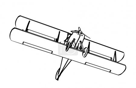 Silhouette of old biplane