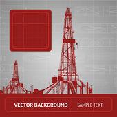 Sketch of oil rig over blueprint Vector illustration