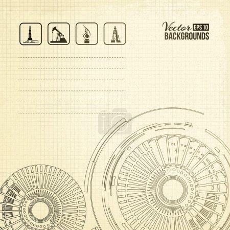 Illustration pour Turbine de pompe à huile. Illustration vectorielle, eps10, contient des transparences, des dégradés et des effets . - image libre de droit