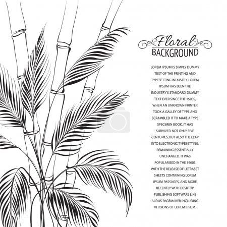 Illustration pour Palmier au-dessus de la forêt de bambous, isolé sur le blanc. Illustration vectorielle . - image libre de droit