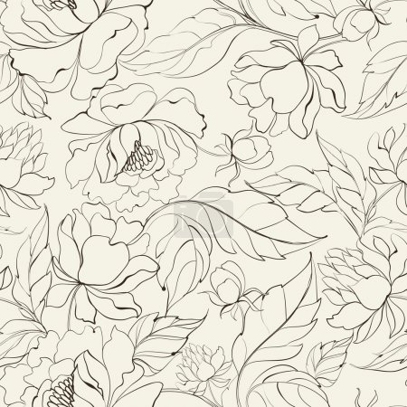Illustration for Seamless floral pattern with Peony. Vector illustration. - Royalty Free Image