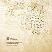 Brown wrinkled paper with grapes