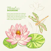 Watercolor painting of lotus and dragonfly Vector illustration
