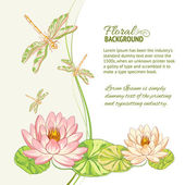 Watercolor label of lotus and dragonfly