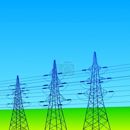 Electrical lines and pylons with blue sky