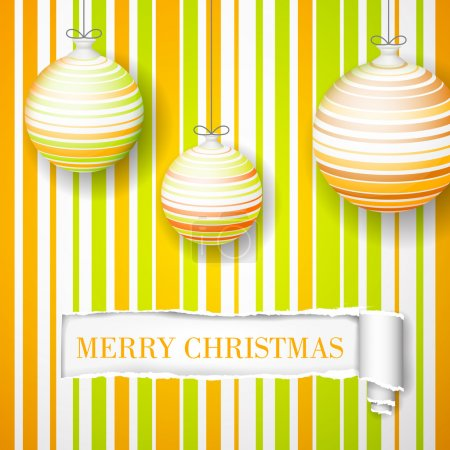 New Year's orange toys on a striped background