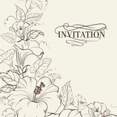 Nature card with blooming hibiscus.