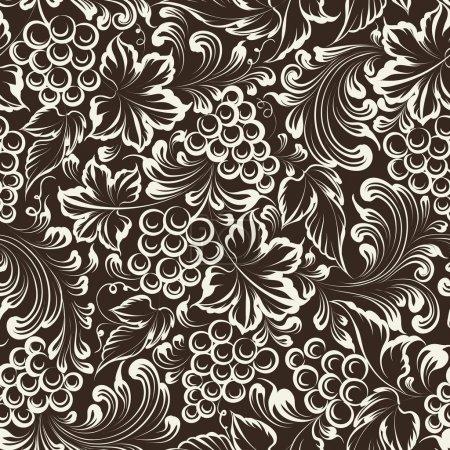 Illustration pour Fond sans couture de vigne. Illustration vectorielle - image libre de droit