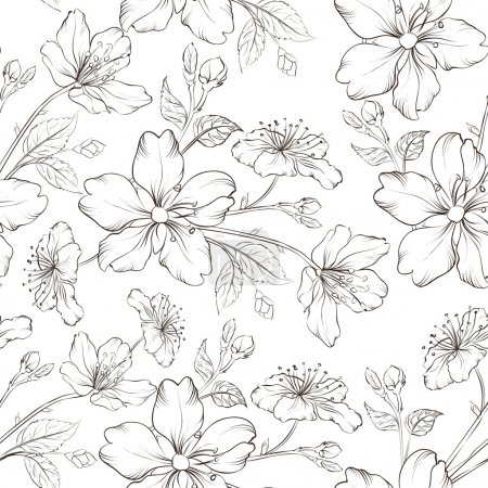 Illustration for Cherry blossom seamless pattern. Vector illustration. - Royalty Free Image