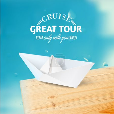 Vacation cruise illustration with ship and text lettering.