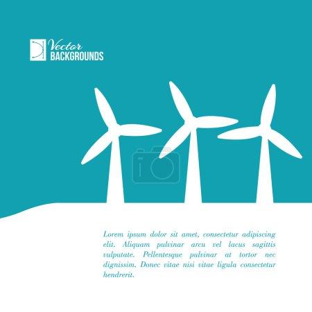 Illustration pour Des éoliennes générant de l'électricité. Illustration vectorielle . - image libre de droit