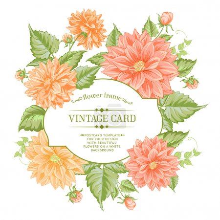 Beautiful card with a  wreath of different color flowers.