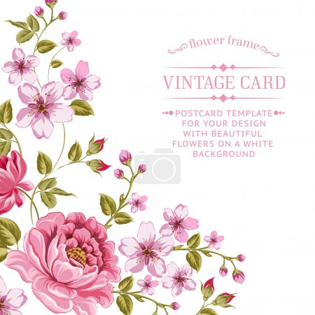 Illustration for Luxurious color peony background with a vintage label. Vector illistration. - Royalty Free Image