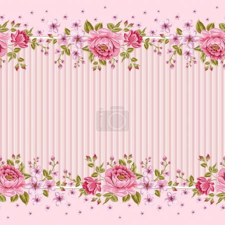Illustration for Seamless wallpaper pattern with of pink roses. Vector illustration. - Royalty Free Image