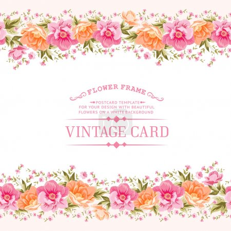Illustration for Border of flowers in vintage style. Vector illustration. - Royalty Free Image