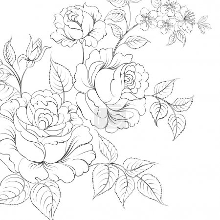 Illustration for Bouquet of roses iolated on white background. Vector illustration. - Royalty Free Image