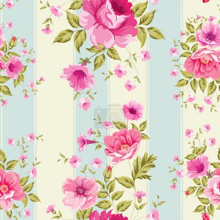 Illustration for Roses, floral wallpaper, seamless pattern. Vector illustration. - Royalty Free Image