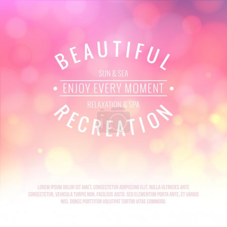 Illustration for Spa lettering over pink bokeh background. Vector illustration. - Royalty Free Image