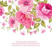 Ornate pink flower decoration with text label Elegant Vintage Greeting card design Vector illustration