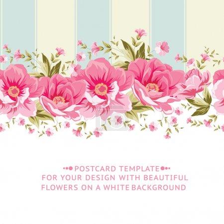 Illustration for Ornate pink flower border with tile. Elegant Vintage card design. Vector illustration. - Royalty Free Image