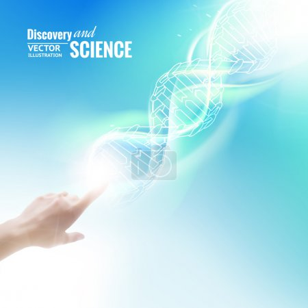 Illustration for Science concept image of human hand touching DNA. Vector illustration. - Royalty Free Image