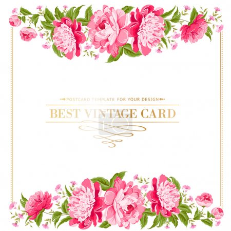 Illustration for Luxurious vintage frame of color peony label. Vector illustration. - Royalty Free Image