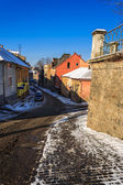 paths diverge in old town winter