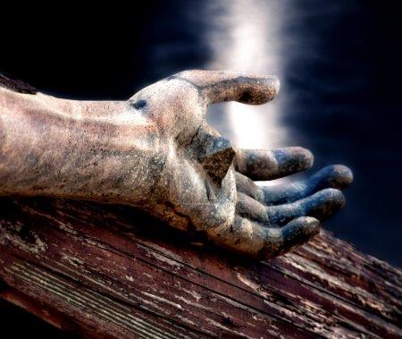 Photo pour Jésus sur la croix avec le ciel céleste au-dessus - image libre de droit