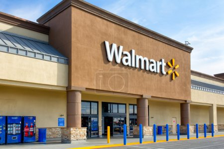 Walmart store exterior. Walmart is an American multinational corporation that runs large discount stores and is the world's largest public corporation.