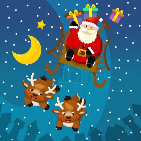 Photo for The design of christmas situation - santa claus in the sled or sleigh with the gifts - square format - illustration for the children - Royalty Free Image