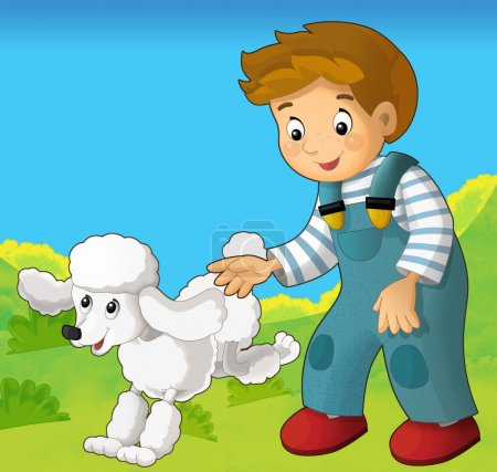 The happy couple - a kid playing with a pet