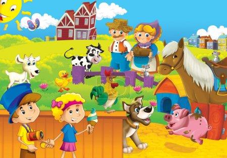 die Kinder auf dem Bauernhof spielen mit den Nutztieren 3