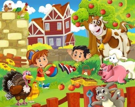 die Kinder auf dem Bauernhof spielen mit den Nutztieren 2