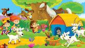 """Постер, картина, фотообои """"Дети на ферме, играть с домашними животными"""""""
