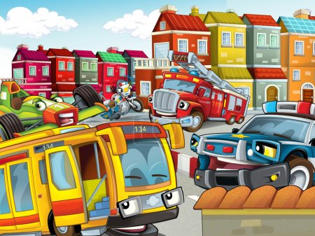 The illustration with many vehicles