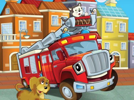 The red truck is happy spending his free time with his friends - animals