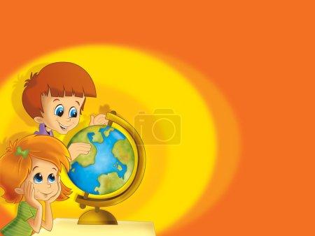 Photo pour La paire d'enfants ayant illustration - apprentissage du globe - amusant pour les enfants - image libre de droit