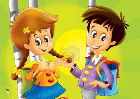 Kids walking together - nice illustration for children - happiness