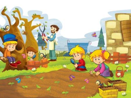 Happy children having fun in the vegetable garden