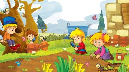 Photo pour Les enfants heureux s'amuser dans le jardin potager - illustration pour les enfants - image libre de droit