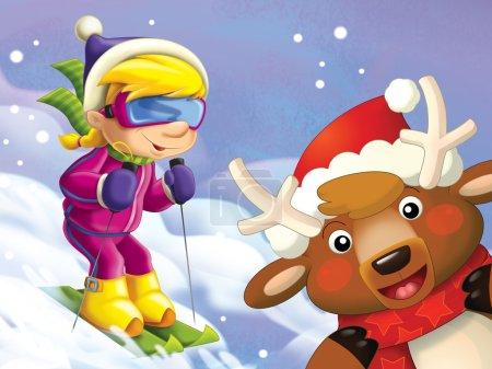 Photo pour Le petit sur les skis s'amuser dans le temps libre des montagnes - loisirs - - illustration pour les enfants - image libre de droit